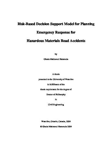 Risk-Based Decision Support Model for Planning Emergency