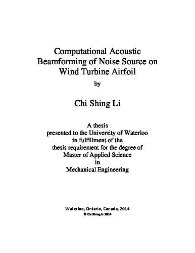 Computational Acoustic Beamforming of Noise Source on