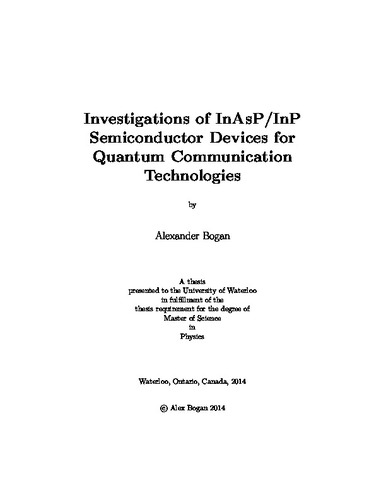 Investigations of InAsP/InP Semiconductor Devices for