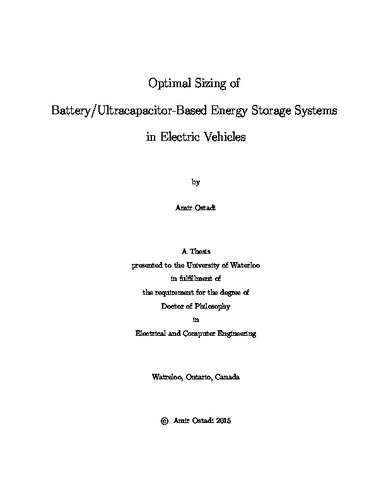 Optimal Sizing of Battery/Ultracapacitor-Based Energy