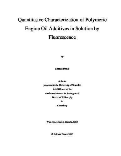Quantitative Characterization of Polymeric Engine Oil Additives in