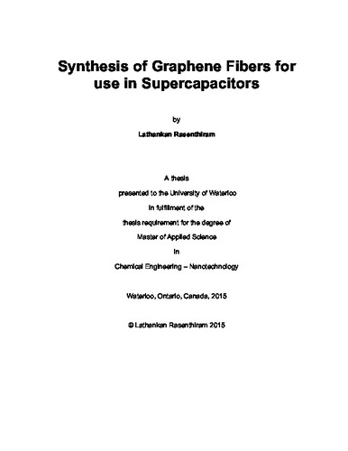 synthesis of graphene fibers for use in supercapacitors