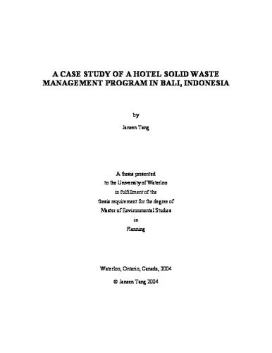 hotel waste management project