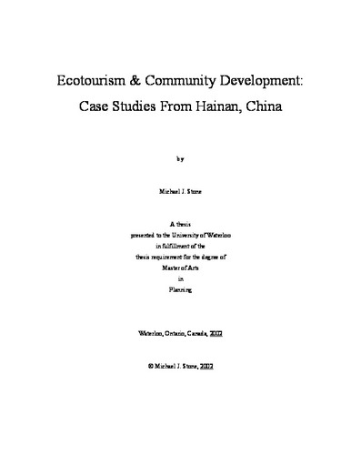 Ecotourism and Community Development: Case Studies From